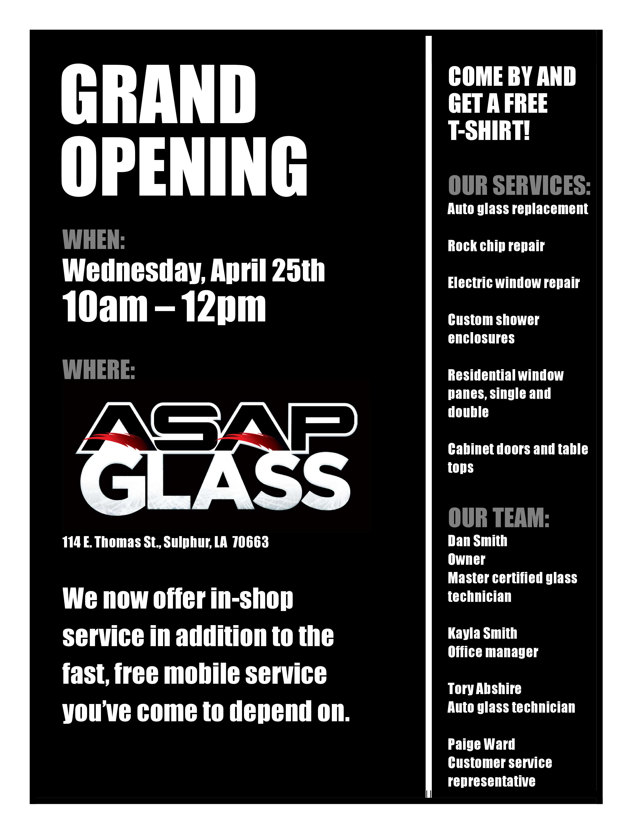 GRAND OPENDING FOR ASAP GLASS